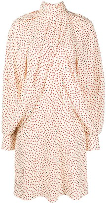 Victoria Beckham Cape Sleeve Polka Dot Dress