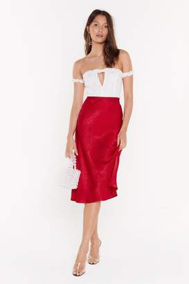 Nasty Gal Womens Touch By Touch Satin Midi Skirt - red - 4