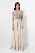 Terani Evening - Crystal Embellished Collared Neck A-line Chiffon Dress 1711M3376