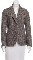 Joseph Leather-Accented Tweed Blazer
