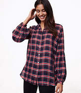 LOFT Plaid Blouson Sleeve Tunic