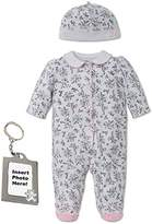 Little Me Footie Baby Girls Footed Sleeper Sleep N Play Hat and Keychain Toile
