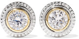 Kenneth Jay Lane Silver And Gold-plated Cubic Zirconia Earrings - one size