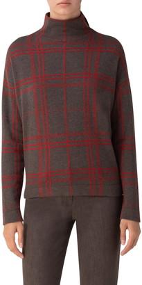 Akris Plaid Intarsia Cashmere Sweater
