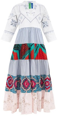 RIANNA + NINA Kendima Upcycled-tablecloth Cotton Dress - White Multi