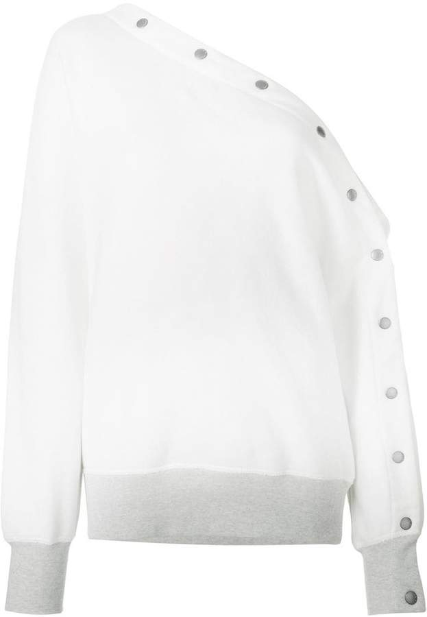 Rag & Bone one shoulder button detailed sweatshirt
