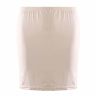 JanJean Women's Half Slips Lace Hem Underskirt Solid Color Elastic High Waist Petticoat Skirt for Commuter OL Under Dresses Nude One Size