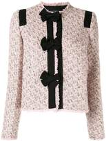 Giambattista Valli Tweed Bow Panel Fitted Jacket