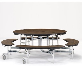 """60"""" Circular Bench Cafeteria Table National Public Seating Frame Finish: Chrome, Tabletop Color: Fusion Maple"""