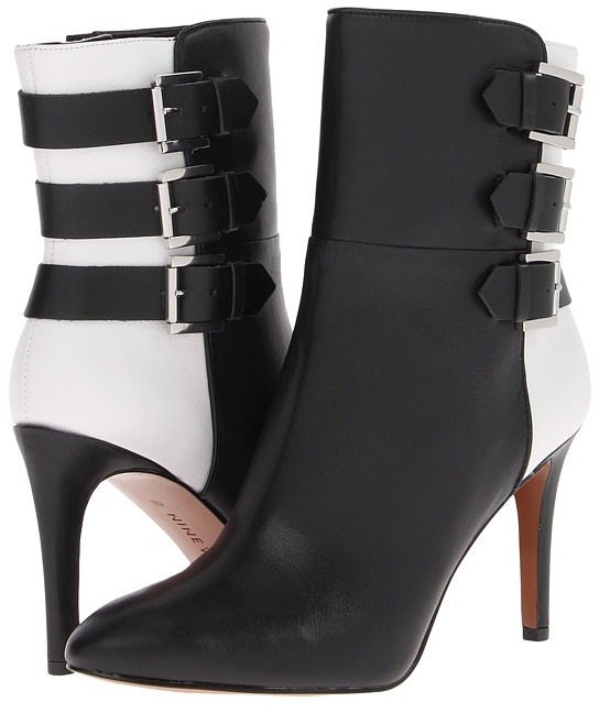 Nine West Petti (Black/White Leather) - Footwear