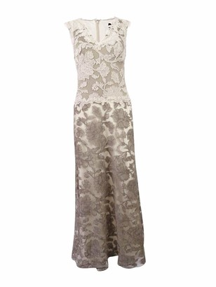Tadashi Shoji Women's Two-Tone Lace Gown with V-Neck