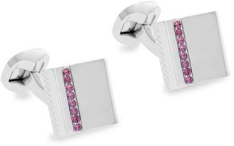 Ermenegildo Zegna Concave Square Silvertone Swarovski Crystal Cufflinks