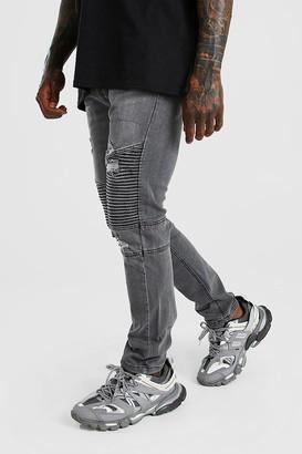 boohoo Mens Grey Skinny Fit Biker Jean With Abrasions, Grey