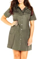 City Chic Plus Size Women's 'Adventure' Short Sleeve Stretch Cotton Shirtdress