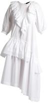Simone Rocha Asymmetric ruffled cotton-poplin dress
