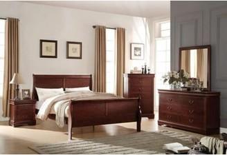 Red Barrel Studio Redwood Sleigh Bed Color: Cherry, Size: Queen