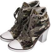 fereshte Women's High Heel Camouflage Lace Up Fashion Sneaker Booties