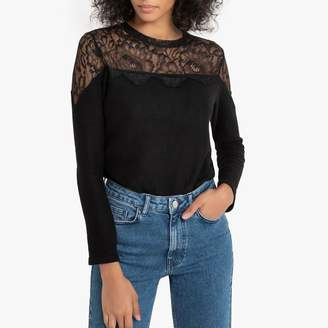 Naf Naf Long-Sleeved Lace T-Shirt