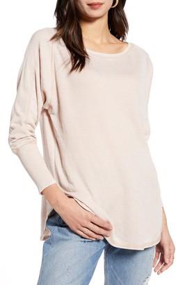 Treasure & Bond Thermal Knit Shirttail Hem Long Sleeve Tee
