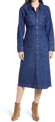 Madewell Denim Snap Front Midi Shirtdress