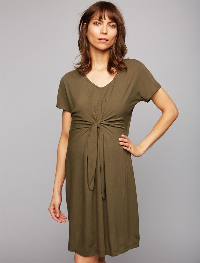 A Pea in the Pod Web Only Seraphine Tie Front Maternity Dress