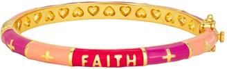 "Junior Jewels Kids' 14k Gold Plated ""Faith"" Enamel Bangle Bracelet"