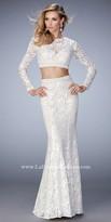 La Femme Autumn Two Piece Lace Prom Dress
