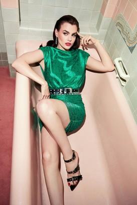 Nasty Gal Womens Sleek It Real Ruched Mini Dress - Green - 4, Green