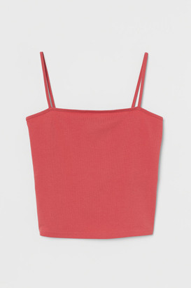 H&M Cropped Jersey Camisole Top - Red