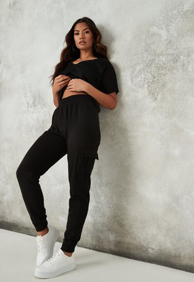 Missguided Black Loopback Cargo Joggers