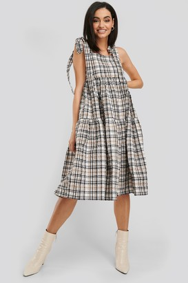 NA-KD Bow Tie Two Tier Check Dress