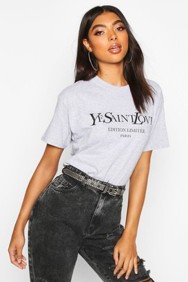 boohoo Tall French Slogan T-Shirt