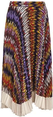 Clu Printed pleated chiffon midi skirt