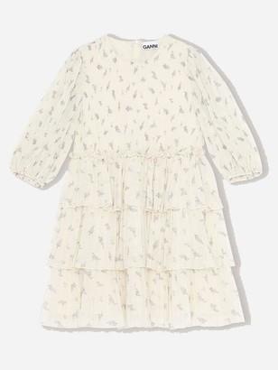 Ganni Mini Georgette Pleated Egret Dress - 34