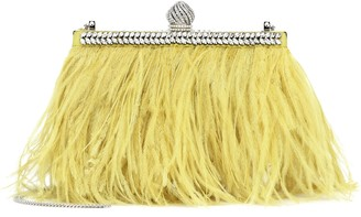 Jimmy Choo Celeste Small feather-trimmed clutch