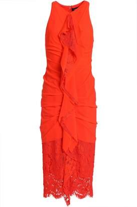 Proenza Schouler Ruffled Lace-paneled Ruched Cotton Dress