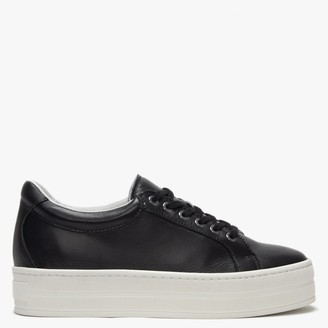 Daniel Piccadilly Circus Black Leather Flatform Trainers