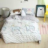 BuLuTu Unicorn Print Cotton Full Duvet Cover Sets White Reversible Zig Zag Striped Queen Comforter Bedding Cover Sets 3 Piece Hidden Zipper Closure With 4 Corner Ties For Kids Boys Girls