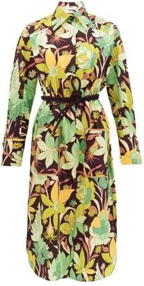 Fendi Dream Garden-print Cotton Shirt Dress - Black Print