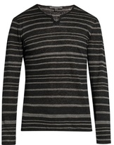 John Varvatos Striped V-neck Linen-jersey Sweater