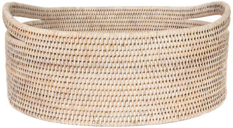 Artifacts Rattan Oval Basket with Cutout Handles, White Wash