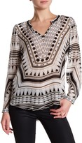 Hale Bob Long Sleeve V-Neck Embellished Bead Trim Print Tunic