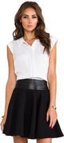 Milly Stretch Silk Crepe Leather Bowtie Top
