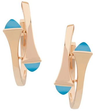 Marli Cleo 18K Rose Gold & Blue Chalcedony Hoop Earrings