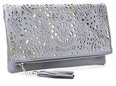 BMC Womens Black Perforated Cut Out Gold Accent Foldover Fashion Clutch Handbag