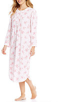Miss Elaine Floral Honeycomb Knit Nightgown