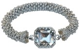Zirconite Satin Textured Rondelles with Square Crystal Stretch Bracelet - Rhodium