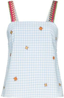 Mira Mikati Embroidered Gingham Top