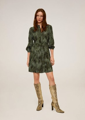 MANGO Snake print shirt dress green - 4 - Women