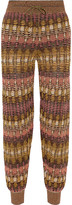 M Missoni Metallic crochet-knit tapered pants